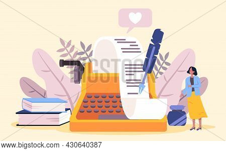 The Poetry Writer With Yellow Skirt Stands In Front Of Type Writer Mechine Pen Inkwell And Paper Rol