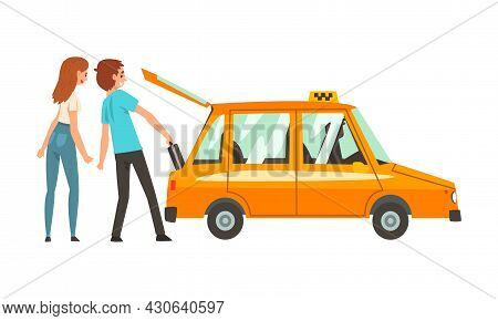 Man And Woman Passenger And Orange Taxi Cab Vector Illustration