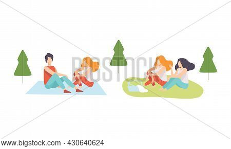 People Character Enjoying Picnic In Nature Sitting On Blanket And Grass Talking Vector Set