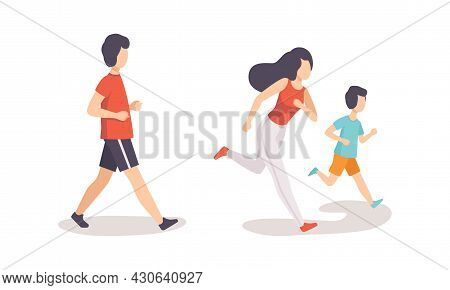 People Running And Jogging Doing Sport And Physical Exercise Training Body And Muscle Vector Set