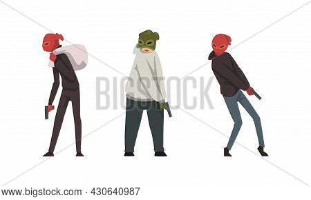 Bank Robbery With Masked Man With Pistol And Sack With Money Committing Crime Vector Set