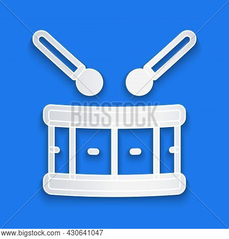 Paper Cut Drum With Drum Sticks Icon Isolated On Blue Background. Music Sign. Musical Instrument Sym