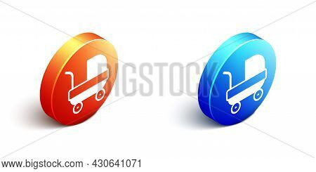 Isometric Baby Stroller Icon Isolated On White Background. Baby Carriage, Buggy, Pram, Stroller, Whe