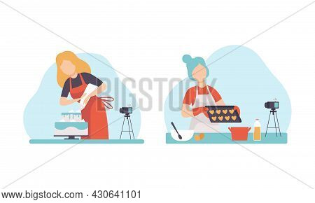 Woman Blogger Or Vlogger Making Video Content For Cooking And Baking Channel Vector Set
