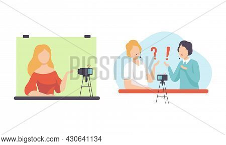 Man And Woman Blogger Or Vlogger Making Video Content For Web Channel Vector Set