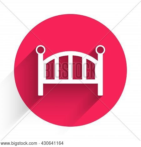 White Baby Crib Cradle Bed Icon Isolated With Long Shadow Background. Red Circle Button. Vector