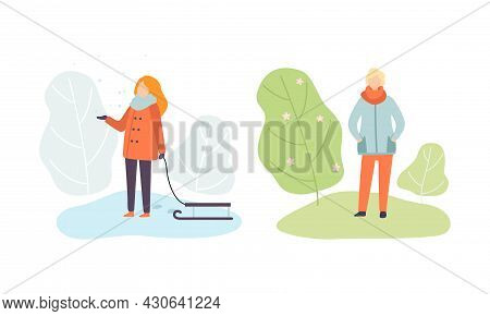 Season Scene With Woman Walking With Sledge In Snowy Winter And Man Enjoying Blooming Spring Flora V