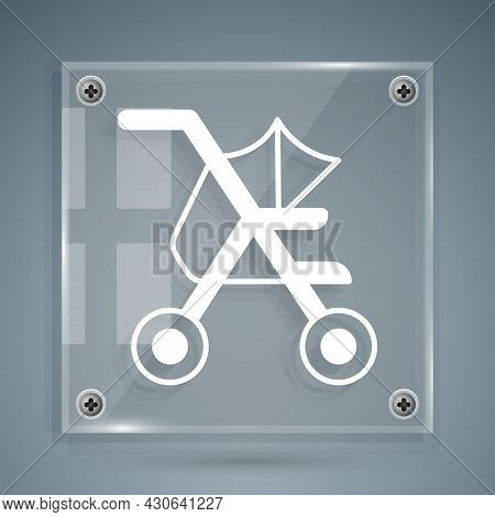 White Baby Stroller Icon Isolated On Grey Background. Baby Carriage, Buggy, Pram, Stroller, Wheel. S