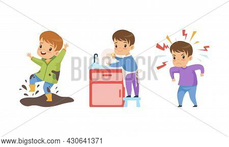 Naughty And Obedient Little Boy Splashing In Mud And Washing Dishes In Kitchen Sink Vector Set