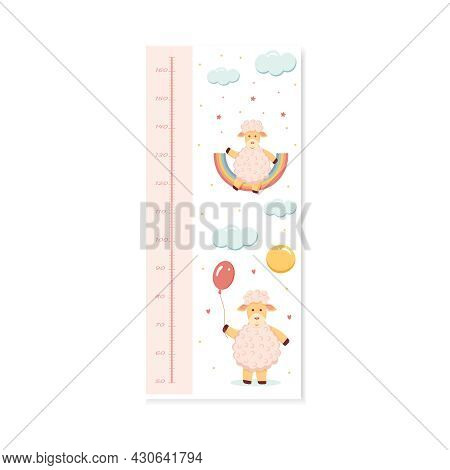 Children Wall Stadiometer With A Ruler In Centimeters With A Lamb For Girls.