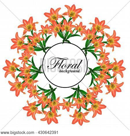 Wreath Of Blooming Beautiful Orange Tulip With Flowers Background Template. Vector Set Of Blooming F