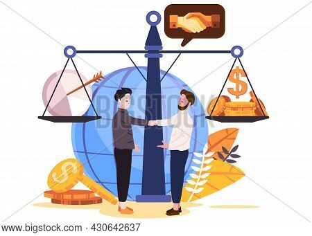 In Front Of Scale And Globe In White Blue Background Two Man Hand Shake Each Other Making Agreement