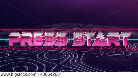 Image of image game screen with Press Start text in pink metallic letters with multiple purple lines moving in seamless loop. Retro image game concept digitally generated image.