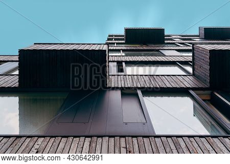 Berlin, Germany - July 29, 2019: Contemporary Residential Building In Berlin Mitte. Low Angle View