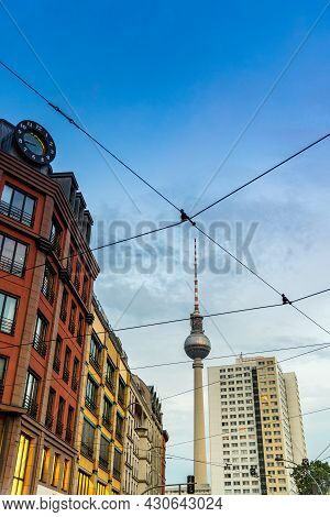 Berlin, Germany - July 27, 2019: Cityscape Of Berlin Mitte With Fernsehturm Television Tower On Back