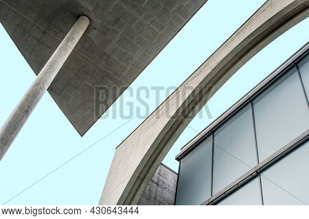 Berlin, Germany - July 30, 2019: Contemporary Architecture Detail. Concrete Facade In Marie-elisabet