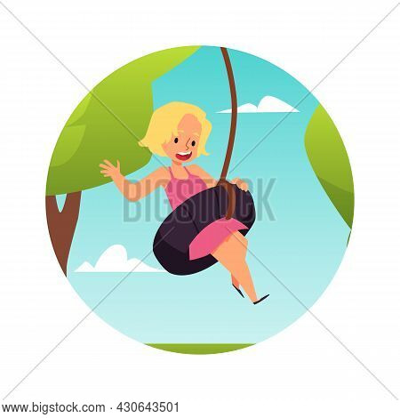 Happy Kid Girl Fun Swinging On Swings In Park Or Playground A Vector Illustration