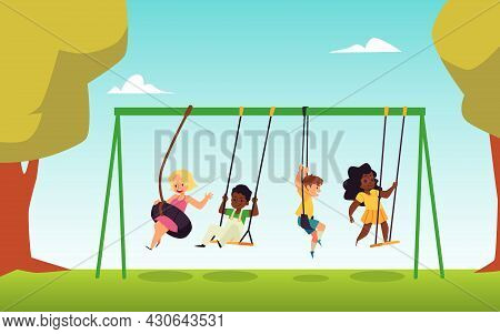 Several Kids In Nature Park Swing On Swing And Bungee In Flat Vector Illustration.