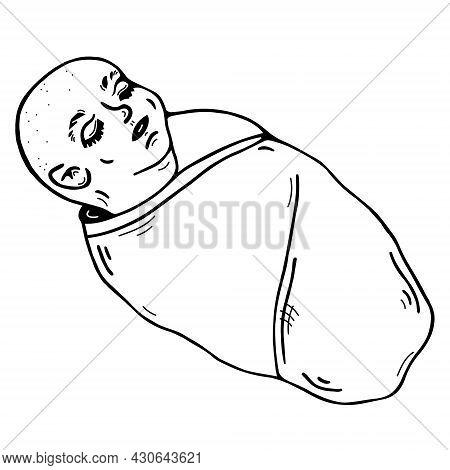 Cute Cartoon Baby Vector Icon. Hand-drawn Child. Black Doodle Isolated On White Background. A Sleepi