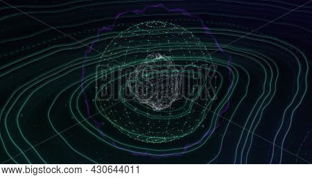 Image of spinning sphere and network of connections over topography lines on black background. Global digital network technology concept digitally generated image.