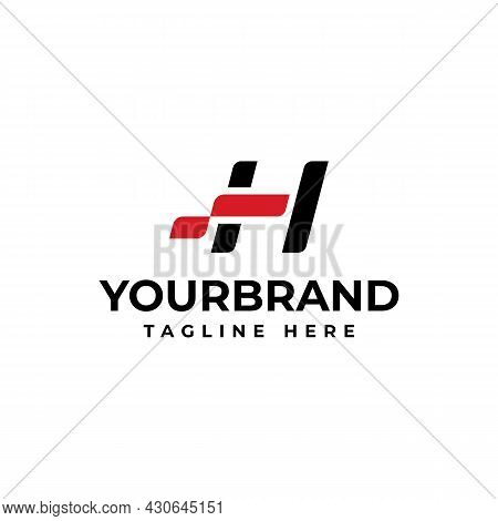 The Letter H Logo, Perfect For Your Corporate Identity. Racing Logo Design Concept Template.