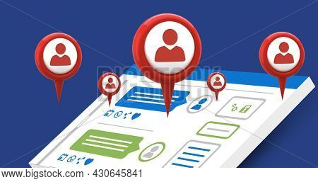 Digital image of red map pins with profile icons appearing in the screen while background shows a tablet with a social media interface image for social media 4k
