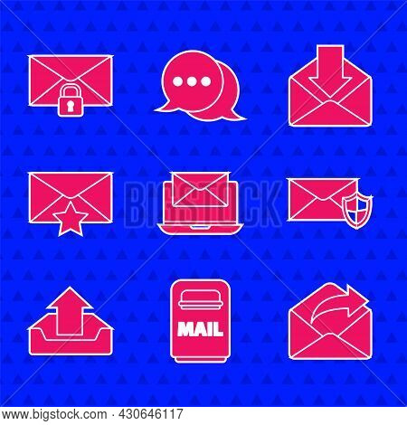 Set Laptop With Envelope, Mail Box, Outgoing Mail, Envelope Shield, Upload Inbox, Star, And Message