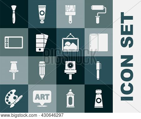 Set Tube With Paint Palette, Pen, Paper Towel Roll, Paint Brush, Palette, Graphic Tablet, And Pictur