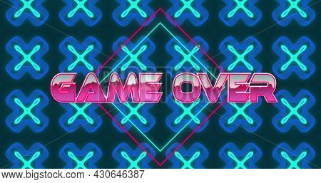 Image of game over text in pink metallic letters over neon diamonds and blue kaleidoscope shapes. Global network of connection and image game concept digitally generated image.