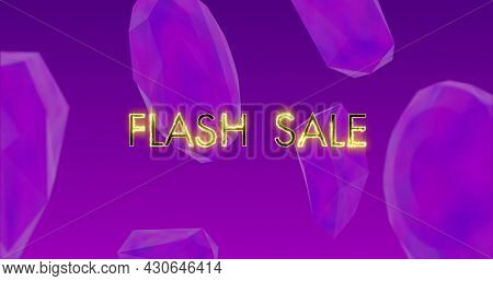 Image of flash sale text in yellow glowing letters over purple blocks on purple background. Shopping, retail and savings concept digitally generated image.