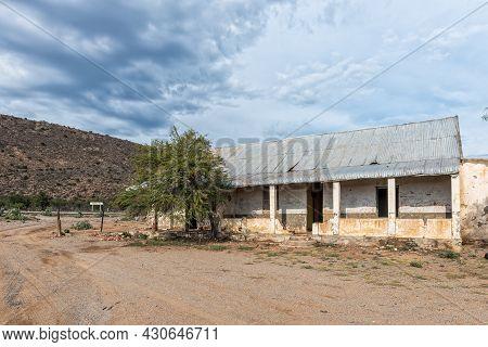 Vondeling, South Africa - April 21, 2021: Ruin At Vondeling Railway Station On Road R407 Between Kla