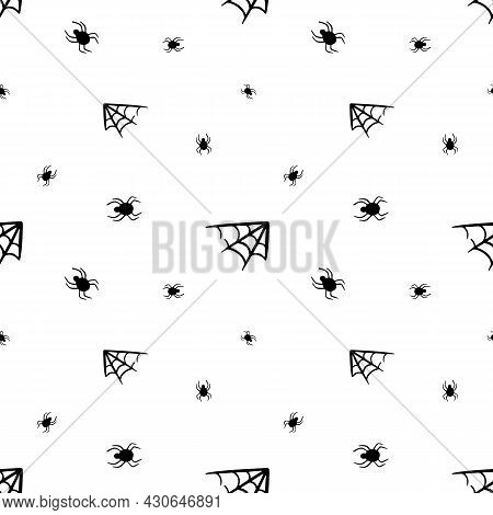 Little Spiders With Spider Webs Vector Seamless Pattern Background For Halloween Design.