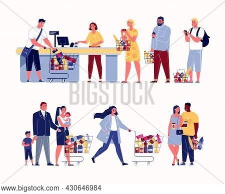 Customers Line Up At The Supermarket Checkout. Couples, Families, Students, Businessmen, All Kinds O