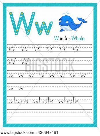 Trace Letter W Uppercase And Lowercase. Alphabet Tracing Practice Preschool Worksheet For Kids Learn