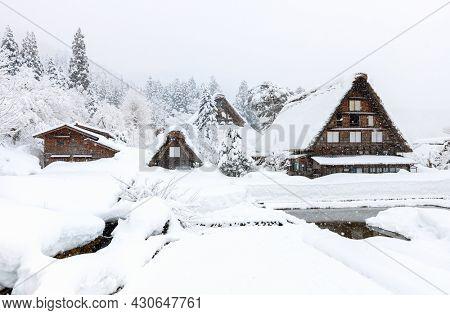 World Heritage historic Japanese village Shirakawago in winter
