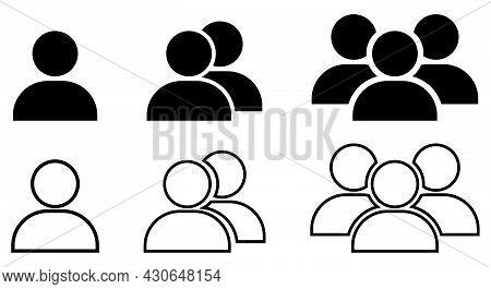 Set Of People Icon. Design For Web, Logo, App, Ui. Vector Outline Symbols