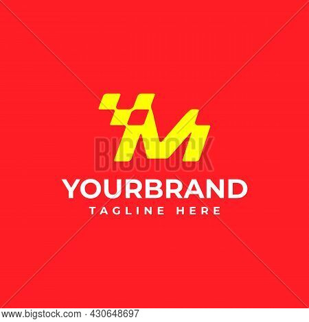 The Letter M Logo, Perfect For Your Corporate Identity. Racing Logo Design Concept Template