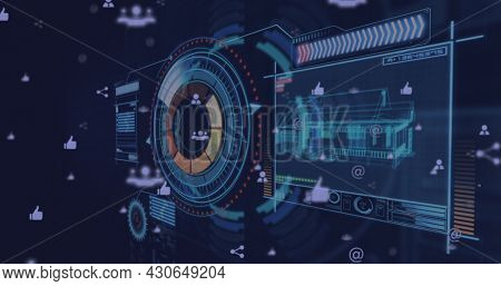 Digital image of Network of connection icons over digital interface with screen of 3D house model against blue background. Digital computer interface concept