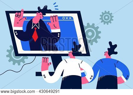 Online Video Conference And Chat Concept. Group Of Business People Partners Coworkers Having Remote