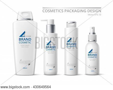 Realistic Brand Cosmetic Bottles. White Design Products Pack, 3d Containers Mockup, Skin Care Means