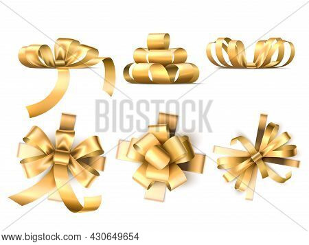 Gift Bows Ribbons. Realistic Satin Golden Decorative Tapes, Different Silk Packaging Bands, Top And
