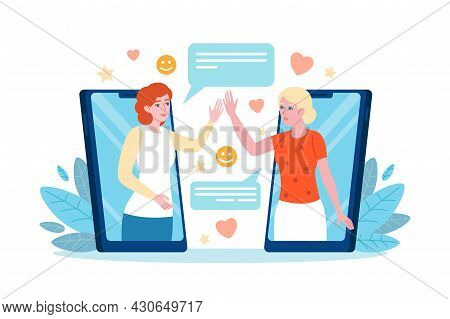 Phone Greeting. Women Remote Greet Each Other Through Mobile Gadgets, Friends Chat Dialogue, People