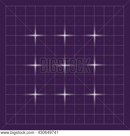 Grid On Digital Hud. Vector Grids For Techno Interface Future Square Dashboard With Pattern And Abst