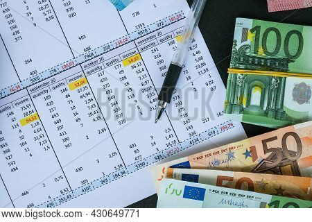 Office Workplace Desk With Euros. Counting Money For Salary. Investment Savings. Finances, Economy A