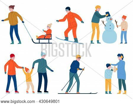 Winter Outdoor Games. People Activities, Parents With Children Making Snowman, Skiing And Sledding,