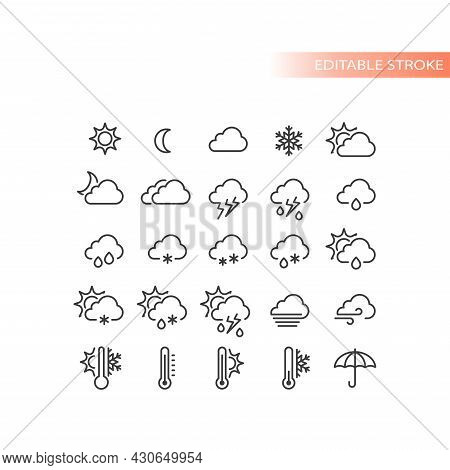 Weather Forecast Line Vector Icon Set. Stormy, Sunny, Rain, Snow Icons. Sun And Clouds, Hot And Cold