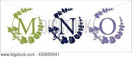 M N O Letter. Set Modern Hand-drawn Silhouette Sketch Illustrations. Lavender Flower Wreath With Alp