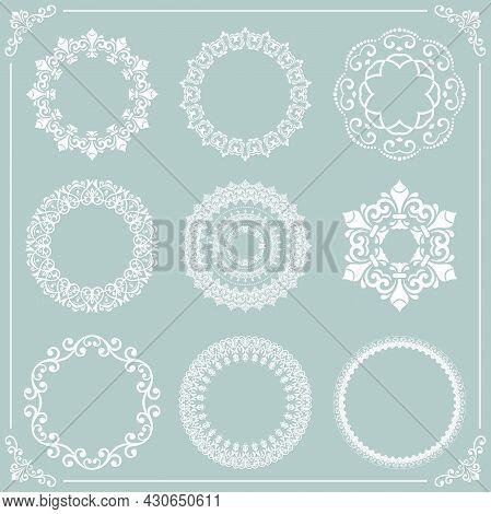 Vintage Set Of Vector Round Elements. White Elements For Design Frames, Cards, Menus, Backgrounds An