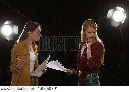 Professional Actresses Rehearsing On Stage In Theatre
