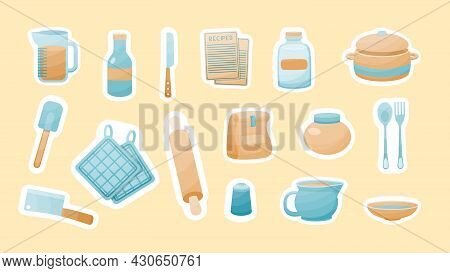 Kitchen Utensils For Cooking Stickers. Saucepan With Bowls And Measuring Glass. Holders For Hot Dish
